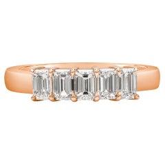 Five-Stone Emerald Cut Diamond Rose Gold Wedding Band Ring