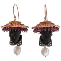 Ruby Pearl Diamond Silver Gold Moretti Earrings