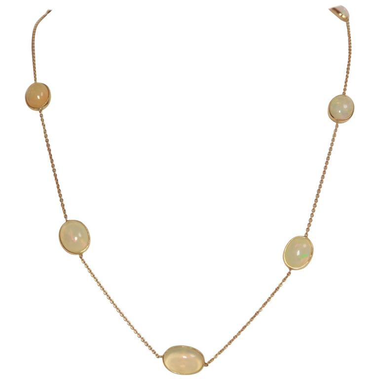 Marion Jeantet Opal Cabochons Yellow Gold Necklace