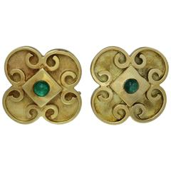 Byzantine Style Emerald Yellow Gold Clip-On Earrings