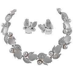 Seaman Schepps Rock Crystal Pearl Diamond Silver Suite