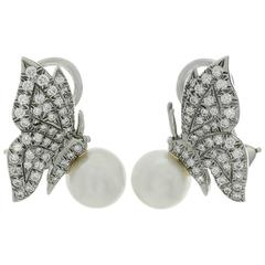 Tiffany & Co. Pearl Diamond Platinum Butterfly Clip-On Earrings