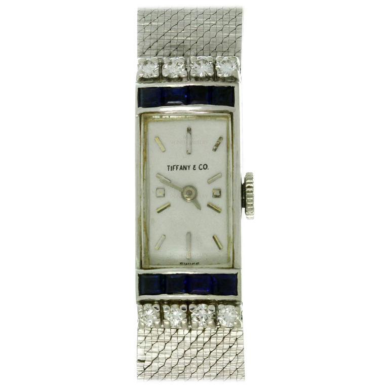 Tiffany & Co. Ladies White Gold Diamond Blue Sapphire mechanical Wristwatch