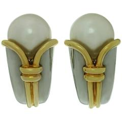 Bulgari Cornucopia Pearl Yellow Gold Clip-On Earrings