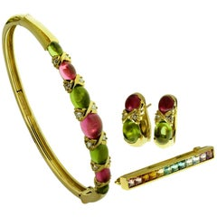 Tiffany & Co. Gemstone Yellow Gold Bracelet Earrings Brooch Set