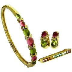 Tiffany & Co. Gemstone Yellow Gold Bracelet Earrings Brooch Set
