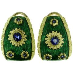 Blue Sapphire Green Enamel Yellow Gold Earrings