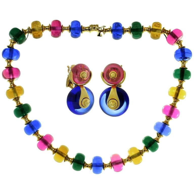 Marina B Cimin Multi-Color Gemstone Yellow Gold Necklace and Earrings Set