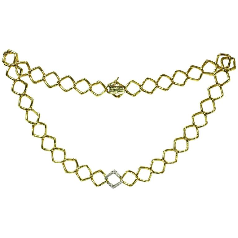 Tiffany & Co. Paloma Picasso Diamond Platinum Gold Necklace