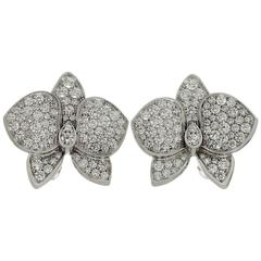Cartier Caresse D'orchidees Diamond White Gold Large Model Earrings