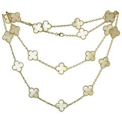 Van Cleef & Arpels Alhambra Mother-of-Pearl Yellow Gold 20 Motif Necklace