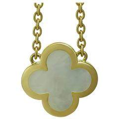 Van Cleef & Arpels Pure Alhambra Mother-of-Pearl Yellow Gold Pendant Necklace