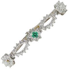 Sparkling AA Emerald Diamond White Gold Bracelet, circa 1940