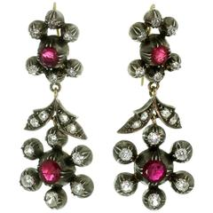 Victorian Natural Unheated Ruby Diamond Gold Silver Pendant Earrings