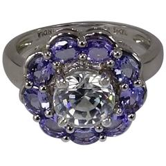 Round Zircon Surrounded by Tanzanites Sterling Silver Cocktail Ring