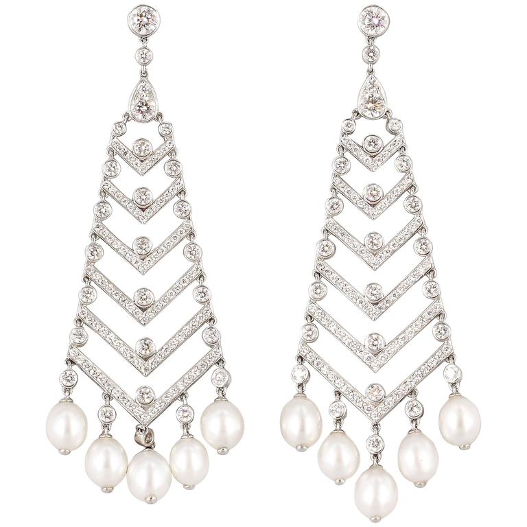 Tiffany and co pearl diamond platinum chandelier earrings for sale pearl diamond platinum chandelier earrings for sale aloadofball Image collections