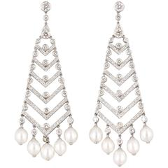Tiffany & Co. Pearl Diamond Platinum Chandelier Earrings