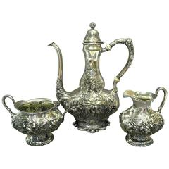 Art Nouveau Antique Unger Brothers Sterling Silver Three-Piece Demitasse Set