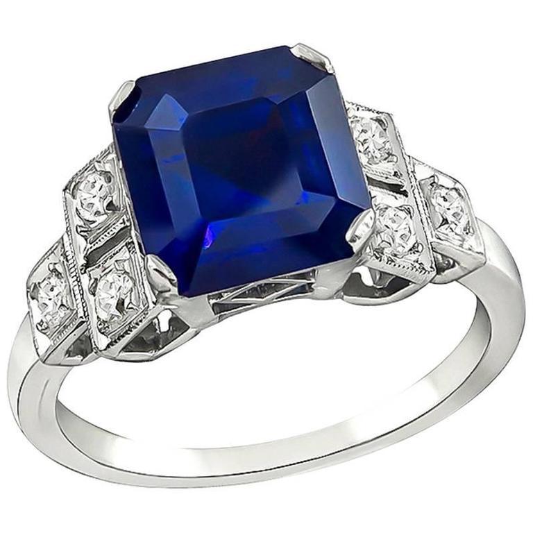 4.16 Carat Sapphire Diamond Platinum Engagement Ring