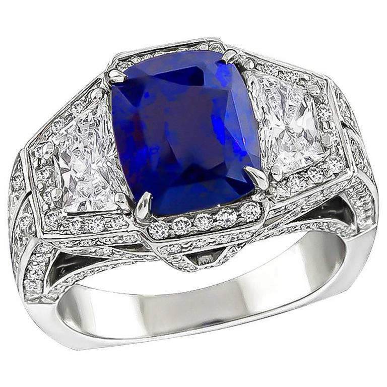 3.93 Carat AGL Certified Sapphire Diamond Platinum Ring