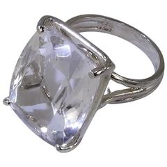 Large Cushion Cut Silver Topaz Sterling Silver Cocktail Ring