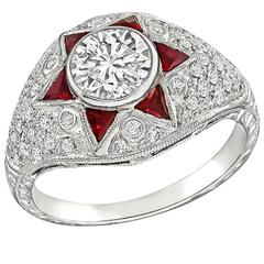 1.01 Carat Ruby Diamond White Gold Engagement Ring