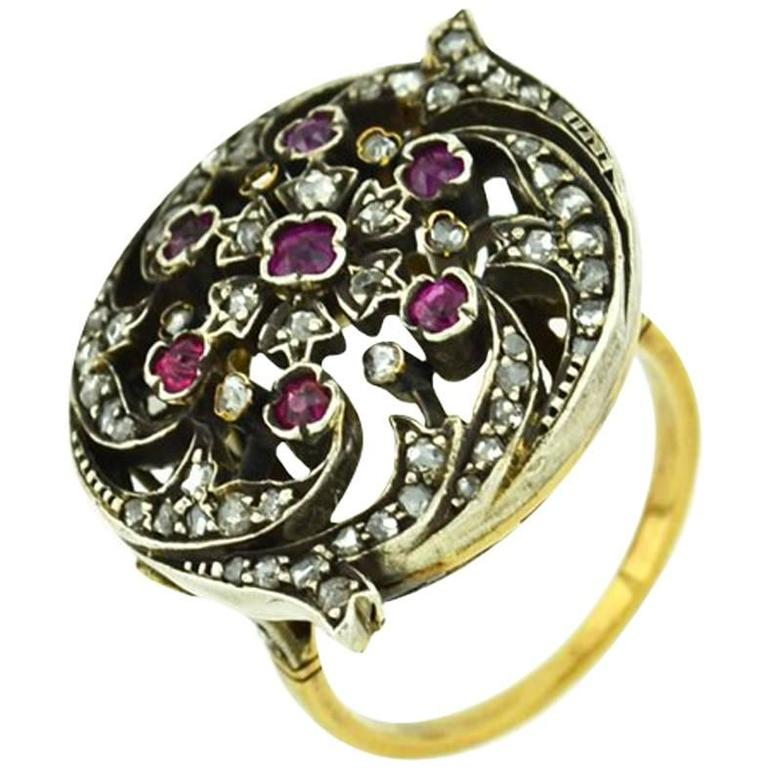 Victorian Ruby Rose Cut Diamond Gold Ring