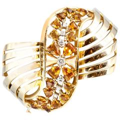 Retro Citrine Diamond Yellow Gold Bangle Bracelet