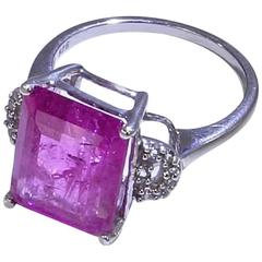 Emerald Cut Pink Tourmaline in Sterling Silver Cocktail Ring
