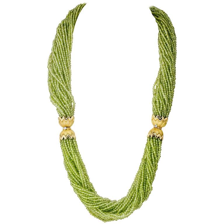 Tiffany & Co. Schlumberger Peridot Diamond Gold Necklace Bracelet Combination For Sale