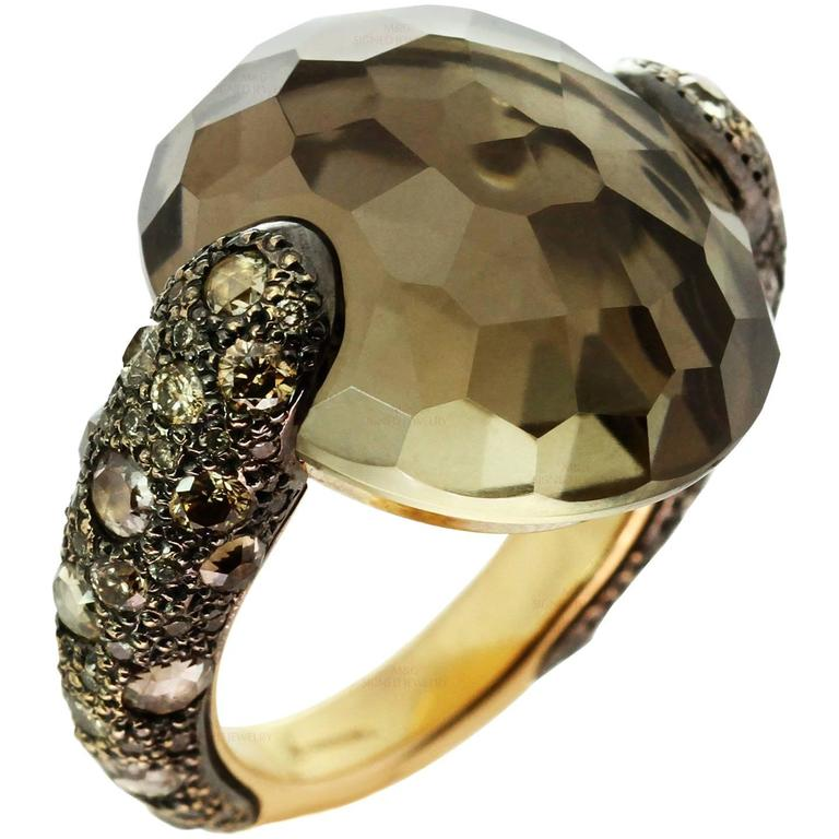 Pomellato Sabbia Smoky Topaz Champagne Diamond Yellow Gold Ring. Sz 6.75 - EU 54 For Sale