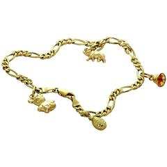 Yellow Gold Charm Ankle Bracelet