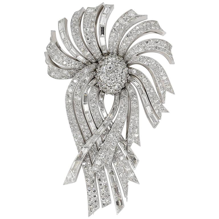 LaCloche Paris Diamond Gold Platinum Day Night Brooch For Sale