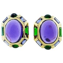 Vibrant Amethyst Iolite and Tourmaline Earrings