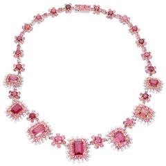 Two Color Tourmaline Diamond Necklace