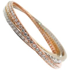 Diamond Tricolor Gold Rolling Bracelet