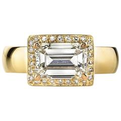 Emerald Cut Diamond Yellow Gold Ring