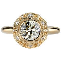 Old European Cut Diamond Yellow Gold Engagement Ring