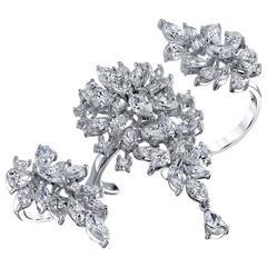 Jewelerette Three-Finger Diamond Gold Ring