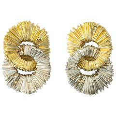 Tiffany & Co. Dramatic White and Yellow Gold Earrings