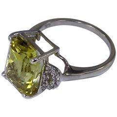 Fancy Cut Golden Beryl in Sterling Silver Ring
