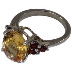 Oval Golden Tourmaline and Garnet Sterling Silver Ring