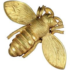 Antique Victorian Large Gold Bumble Bee Brooch