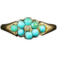 Antique Georgian Turquoise Diamond Ring 18 Carat Gold