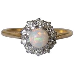 Antique Edwardian Opal Diamond Yellow Gold Cluster Ring
