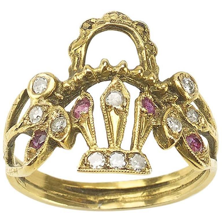 Ruby Diamond Gold Basket Ring
