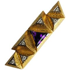 Andrew Grima Amethyst Diamond Yellow Gold Brooch, 2002