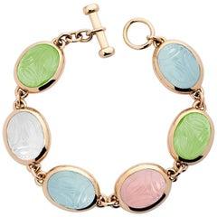 Colleen B. Rosenblat Aquamarine Prehnite Rose Quartz Gold Scarab Bracelet