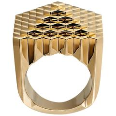 Francesca Grima Yellow Gold Pyramid Pixel Ring