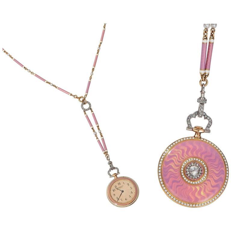 Cartier Belle Époque Platinum Gold Diamond Pearl Enamel Pendant-Watch Necklace 1